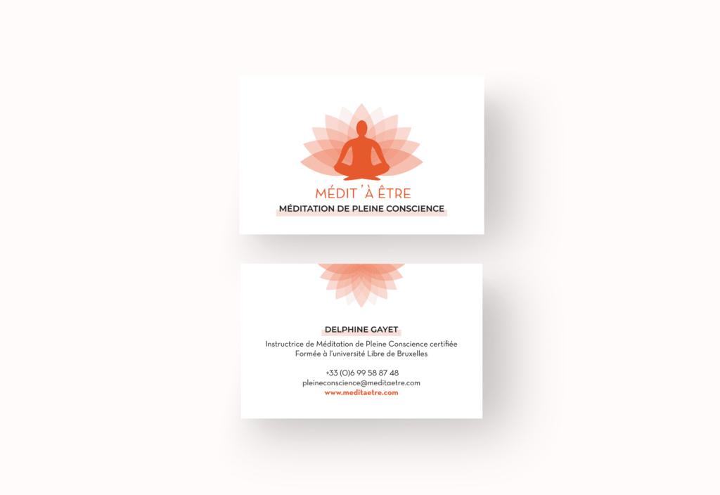 Création de carte de visite Médit' à être La Marketerie à Evian, Thonon et Annemasse