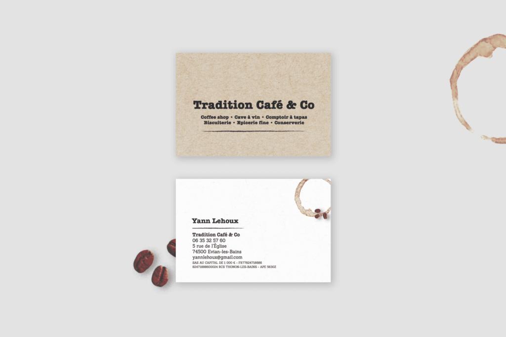 Création sur mesure de carte de visite Tradition Café & Co La Marketerie à Evian, Thonon et Annemasse